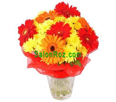 """Bouquet of 7 gerberas and 6 chrysanthemums"" in the online flower shop salonroz.com"