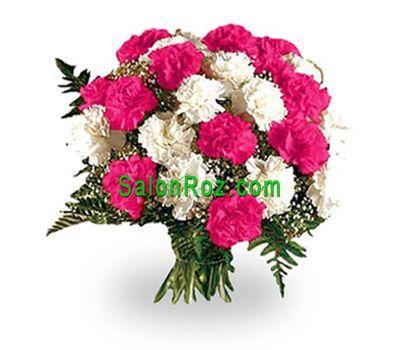 """""""Букет из 25 красных и белых гвоздик"""" в интернет-магазине цветов salonroz.com"""