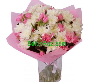 """Bouquet of flowers from 9 roses and 6 chrysanthemums"" in the online flower shop salonroz.com"