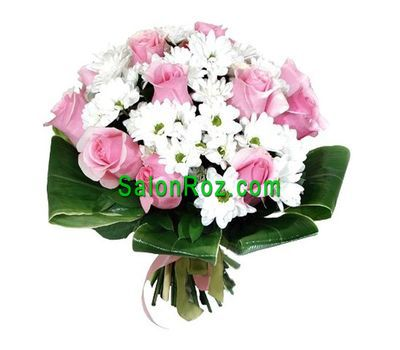"""Bouquet of 11 roses and 12 chrysanthemums"" in the online flower shop salonroz.com"