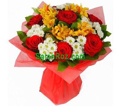 """""""Букет из 7 роз, 5 альстромерии, 5 хризантем"""" в интернет-магазине цветов salonroz.com"""