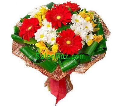 """Bouquet of flowers from 4 gerberas, 3 chrysanthemums and 4 alstroemerias"" in the online flower shop salonroz.com"
