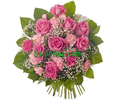 """Bouquet of flowers from 11 roses and 6 carnations"" in the online flower shop salonroz.com"