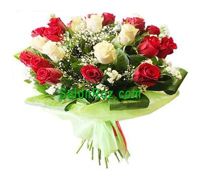 """Bouquet of 21 red and white roses"" in the online flower shop salonroz.com"
