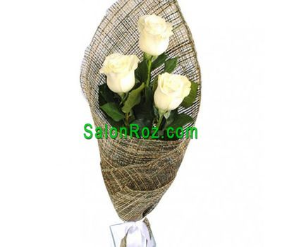 """Bouquet of 3 white roses"" in the online flower shop salonroz.com"