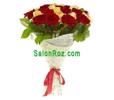 """Bouquet of 25 white and red roses"" in the online flower shop salonroz.com"