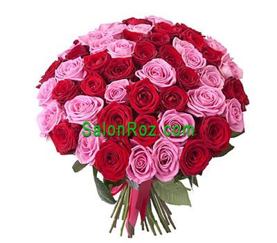 """Bouquet of 55 red and pink roses"" in the online flower shop salonroz.com"
