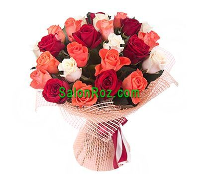 """Bouquet of 25 multi-colored roses"" in the online flower shop salonroz.com"