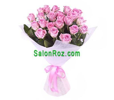 """Bouquet of 25 pink roses"" in the online flower shop salonroz.com"