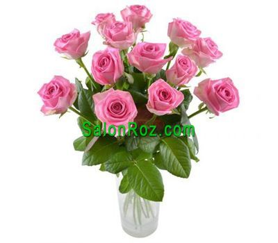 """Bouquet of 13 pink roses"" in the online flower shop salonroz.com"
