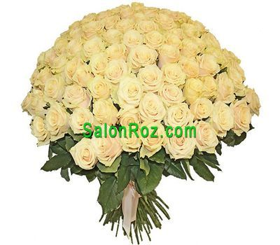 """Bouquet of 101 cream-colored roses"" in the online flower shop salonroz.com"