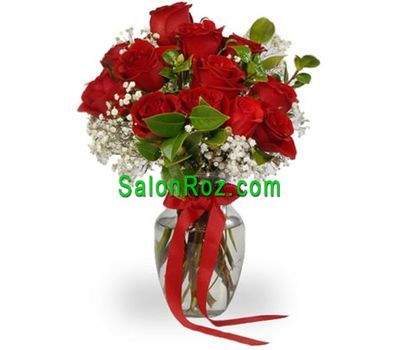 """Bouquet of 13 roses with gypsophila"" in the online flower shop salonroz.com"