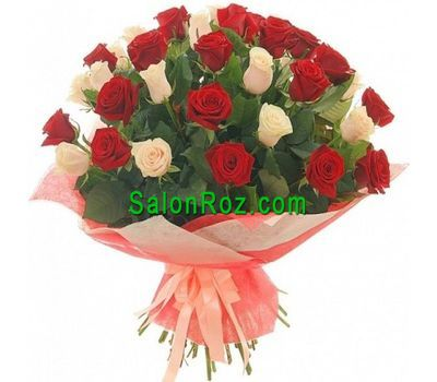 """Bouquet of 37 red and cream roses"" in the online flower shop salonroz.com"