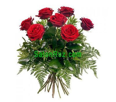 """Bouquet of 7 red roses with verdure"" in the online flower shop salonroz.com"