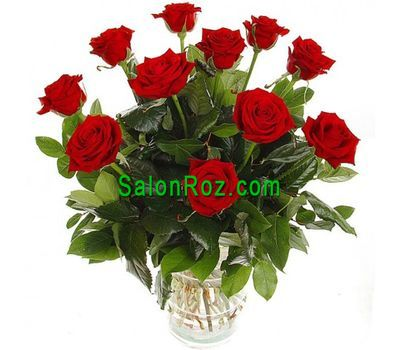 """Bouquet of 11 red roses with verdure"" in the online flower shop salonroz.com"