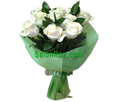 """Bouquet of 9 white roses"" in the online flower shop salonroz.com"