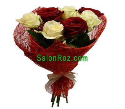 """Bouquet of 7 multicolored roses"" in the online flower shop salonroz.com"