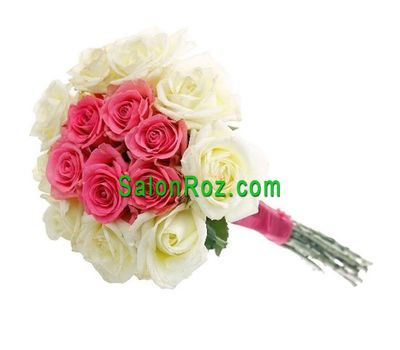 """Bouquet of 15 white and pink roses"" in the online flower shop salonroz.com"