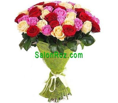"""Bouquet of 35 multi-colored roses"" in the online flower shop salonroz.com"