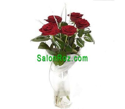 """Bouquet of 5 red roses"" in the online flower shop salonroz.com"