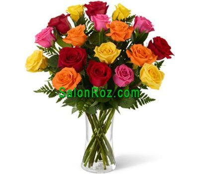 """Bouquet of 19 multi-colored roses"" in the online flower shop salonroz.com"