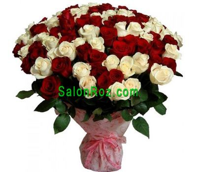 """Bouquet of 75 red and white roses"" in the online flower shop salonroz.com"