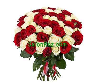"""Bouquet of 43 red and white roses"" in the online flower shop salonroz.com"