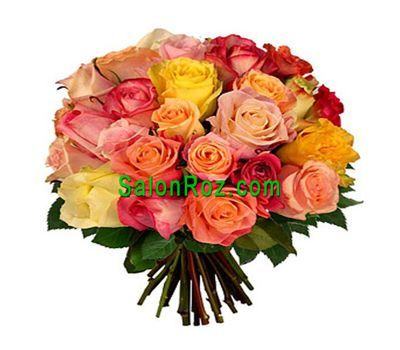 """Bouquet of 29 multi-colored roses"" in the online flower shop salonroz.com"