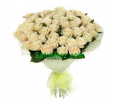 """Bouquet of 55 Cream Roses"" in the online flower shop salonroz.com"