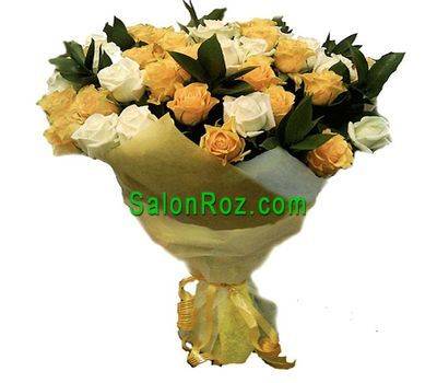 """Bouquet of 43 yellow and white roses"" in the online flower shop salonroz.com"