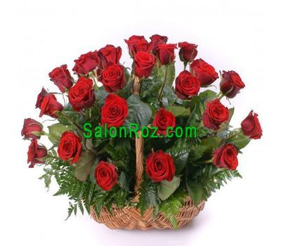 """Basket of 25 red roses"" in the online flower shop salonroz.com"