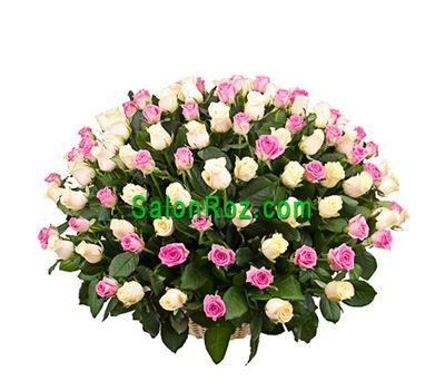 """""""Корзина из 125 разноцветных роз"""" в интернет-магазине цветов salonroz.com"""