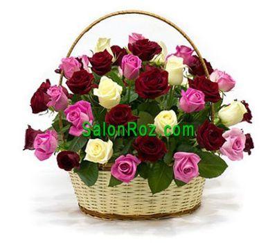 """Basket of 35 multi-colored roses"" in the online flower shop salonroz.com"