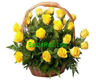 """Basket of 31 Yellow Roses"" in the online flower shop salonroz.com"