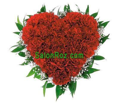 """""""Серце з 25 червоних гвоздик з гіпсофілою"""" в интернет-магазине цветов salonroz.com"""