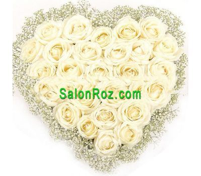 """Heart of 31 white roses and gypsophila"" in the online flower shop salonroz.com"