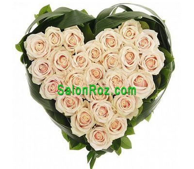 """Heart of 25 white roses"" in the online flower shop salonroz.com"