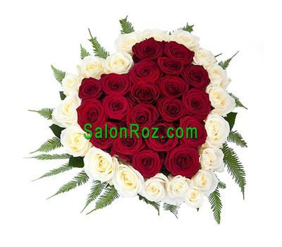 """Heart of 39 red and white roses"" in the online flower shop salonroz.com"