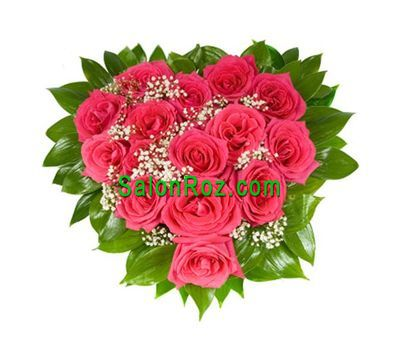 """""""Heart of red roses and gypsophila"""" in the online flower shop salonroz.com"""