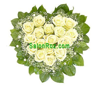 """""""Сердце из 17 белых роз с гипсофилой"""" в интернет-магазине цветов salonroz.com"""