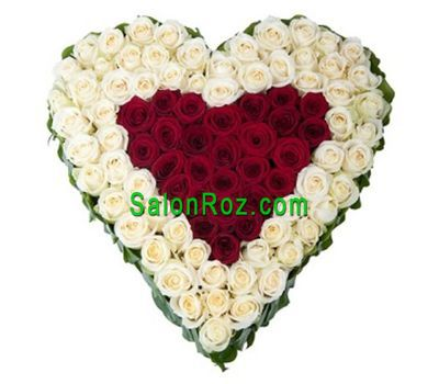 """Heart of 101 red and white roses"" in the online flower shop salonroz.com"
