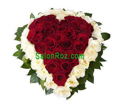"""Heart of 51 white and red roses"" in the online flower shop salonroz.com"