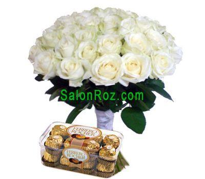 """""""Букет из 35 роз и Ferrero"""" в интернет-магазине цветов salonroz.com"""