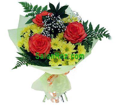 """""""Букет цветов из 4 хризантем и 3 роз"""" в интернет-магазине цветов salonroz.com"""