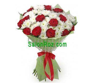 """""""Букет из 15 роз и 14 хризантем"""" в интернет-магазине цветов salonroz.com"""