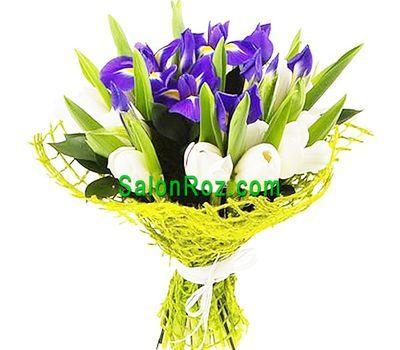 """""""Букет из 6 ирисов и 15 тюльпанов"""" в интернет-магазине цветов salonroz.com"""