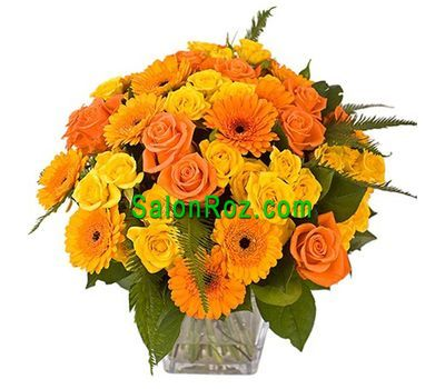 """""""Букет цветов из 20 роз и 11 геребер"""" в интернет-магазине цветов salonroz.com"""