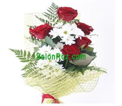 """""""Букет из 5 роз и 2 хризантем"""" в интернет-магазине цветов salonroz.com"""