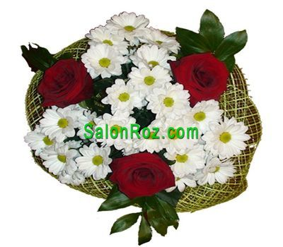 """""""Букет из 3 роз и 4 хризантем"""" в интернет-магазине цветов salonroz.com"""