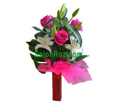 """""""Букет из 4 роз и 1 лилии"""" в интернет-магазине цветов salonroz.com"""